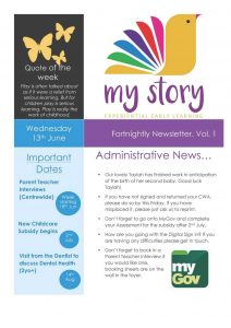 My Story Newsletter Issue #1